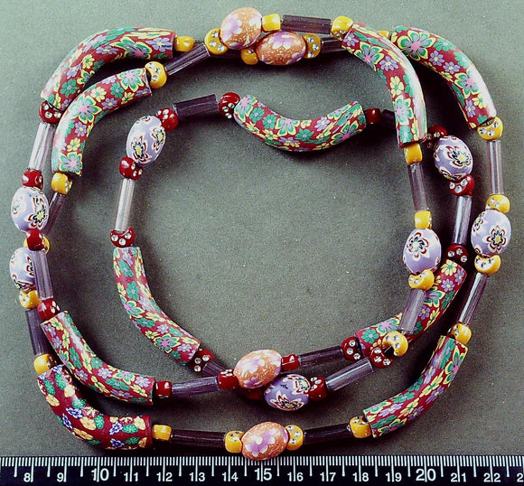 Multi color Fimo clay 43 inch necklace