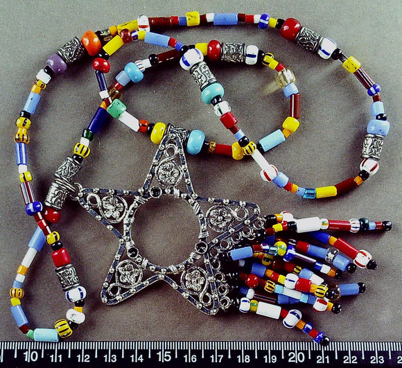 Multi color glass 26 in necklace with silver metal star/beaded 4.5 in pendant