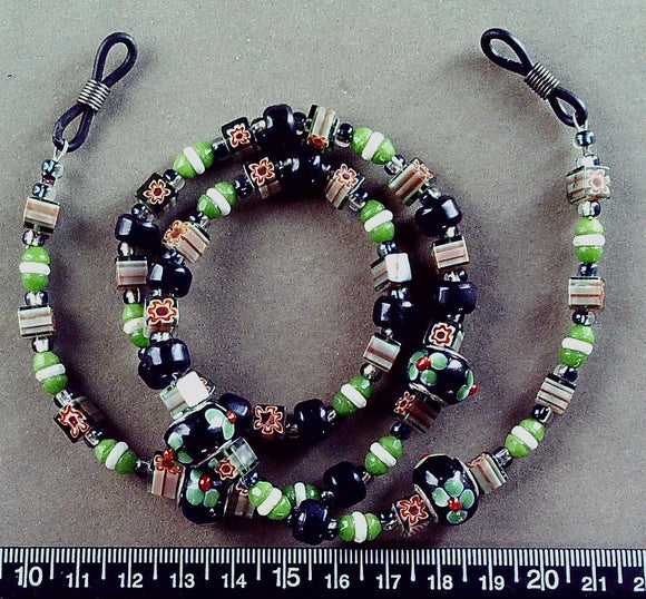 Black/green/white/mutli glass eyeglass lanyard 24  inches including loops