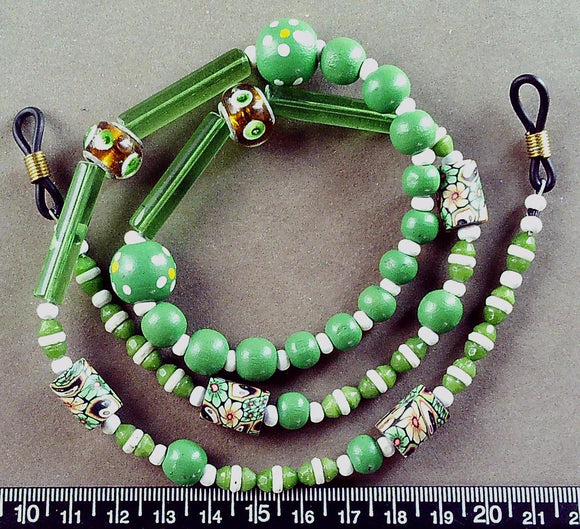Green/white/multi glass and wood eyeglass lanyard 26 inches including loops