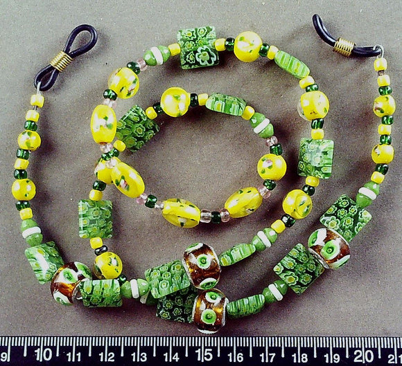 Yellow/green/white/multi glass eyeglass lanyard 24 inches including loops