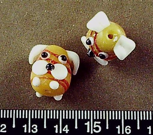 Yellow/white/red lampwork glass dog face beads (22mm x 28mm) 1 pair/2 beads