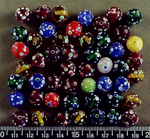 Mixed color w/ white/dots lampwork glass 12mm round beads (52 beads)