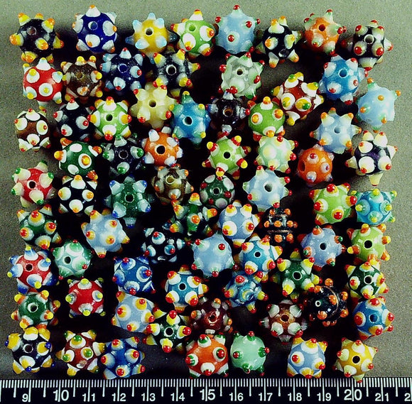 Multi color lampwork glass beads (round, avg 15mm w/bumps) (80+ beads)