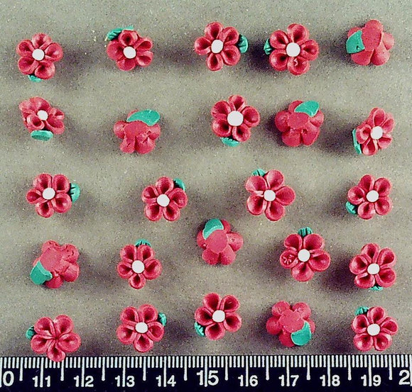 Red and green acrylic 12mm flower beads (24 beads)