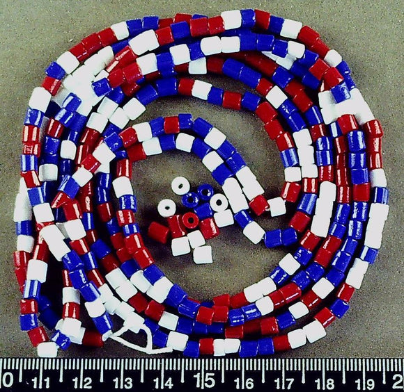 Red white and blue glass 4mm x 4mm heishi beads (38 in strand)