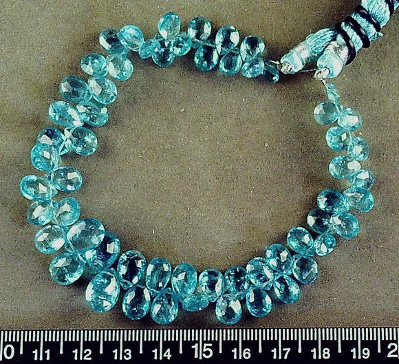 Blue apatite graduated faceted puffed teardrop beads (lgst 8mm x 13mm) (8.5 in)