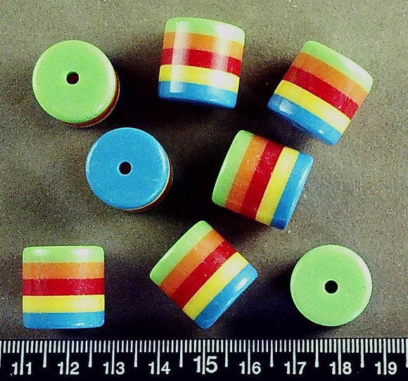 Rainbow stripes acrylic round tube beads (18mm x 18mm) (10 beads)