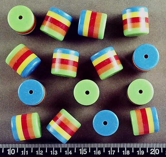 Rainbow stripes acrylic round tube beads (18mm x 18mm) (15 beads)