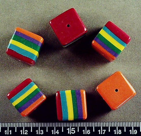 Rainbow stripes acrylic 18mm cube beads (6 beads)