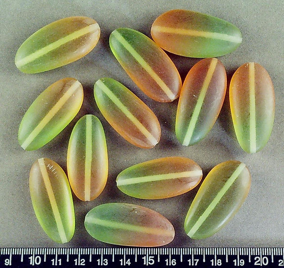 Green/orange resin irreg oval beads (30mm x 19mm)(12 beads)