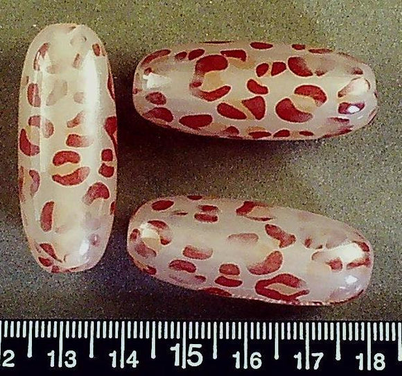 Red/white patterned resin oval beads (40mm x 16mm)(Set of 3 beads)