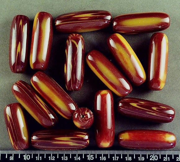 Orange/red resin oval beads (45mm x 15mm)(16 beads)