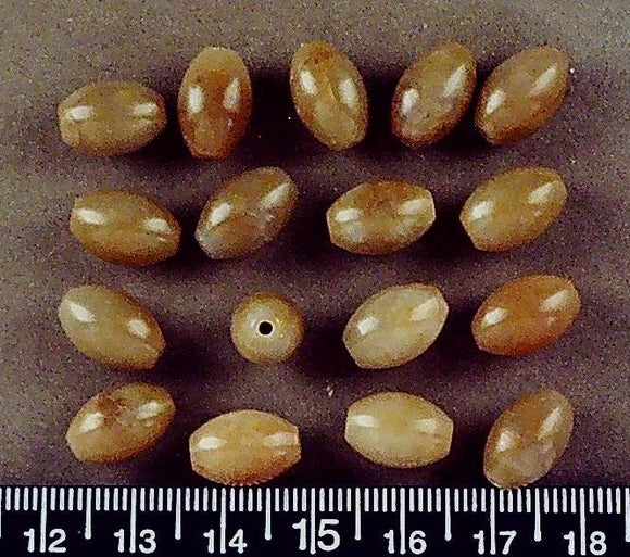 Golden brown stone oval beads (15mm x 8mm)(17 beads)