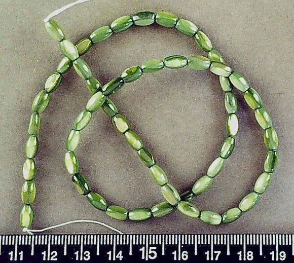 Green mother of pearl oval beads (8mm x 4mm)(16 in strand)