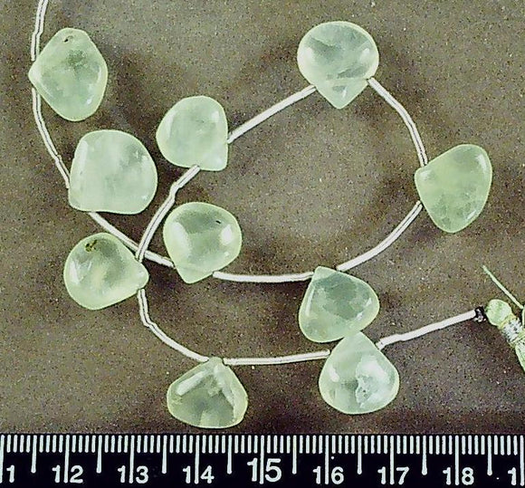 Green prehenite drop flat fat teardrop beads (15mm x 12mm)(10 bead strand)