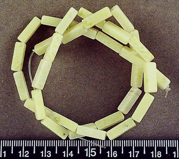 Green serpentine square tube beads (13mm x 4mm)(15 in strand)