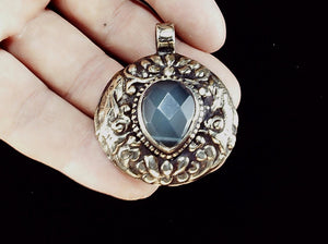 Blue quartz and Bali Sterling silver pendant