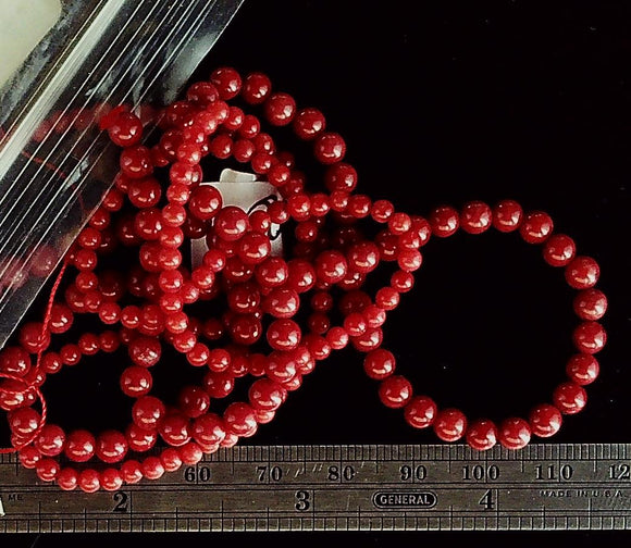Coral red double strand lot 2mm and 4mm round beads 1 strand each