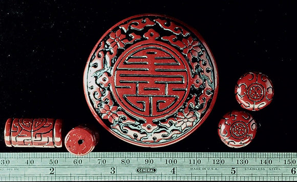 Red and black resin Asian motif 5 bead pendant set