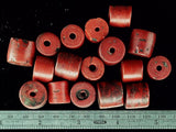 Red with black stone barrel bead set, slightly graduated 12mm to 15mm lot