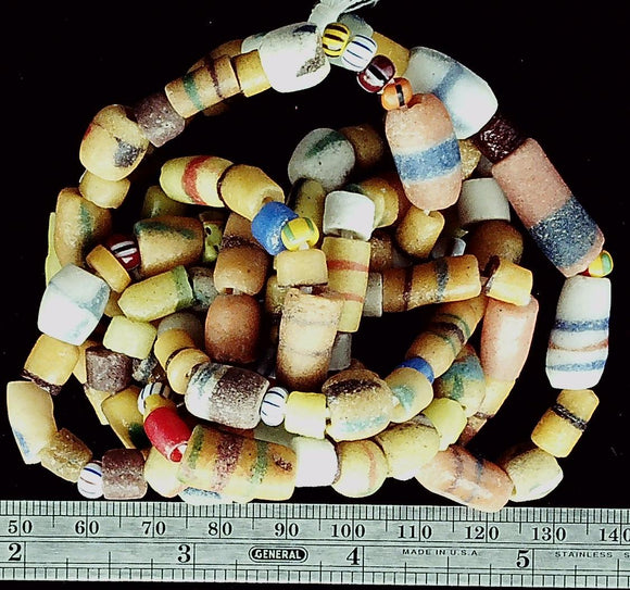 African Multi color glass 40 inch bead strand