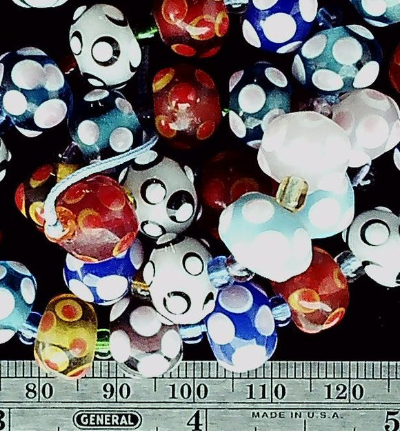 Lampwork multicolor glass 8mm x 10mm polka dot beads 15 inch strand