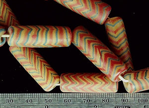 Yellow red blue zigzag stripe 30mm tube beads  18 inch strand
