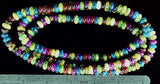 Multicolor polished glass 3mm x 8mm rondelle beads 35 inch strand