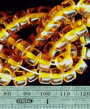 Amber gold color glass 5mm linear x 8mm width drum beads 16 inch strand