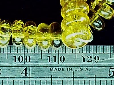 Yellow glass 3mm linear x 8mm width rondelle beads 16 inch strand
