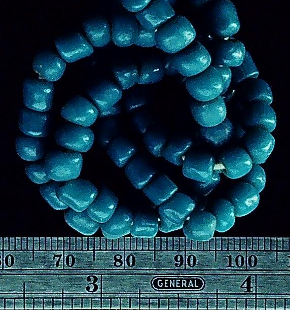 Teal blue glass beads graduated to 5mm 25 inch strand
