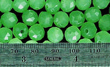 Medium green glass 8mm faceted round beads loose strand about 50 beads