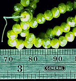 Olive/lime green glass 3mm x 4mm faceted rondelle beads 13 inch strand