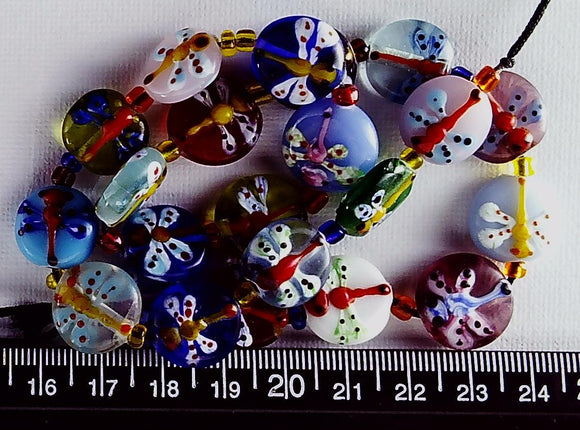 Lampwork multicolor glass with dragonfly 15mm flat circle beads 15 inch strand