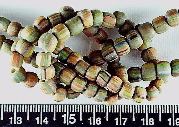 Olive green with multicolor stripe glass beads to 5mm 24 inch strand