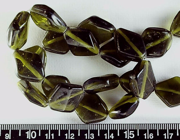 Olive lampwork glass 20mmx 16mm  diamond shape beads  16 inch strand