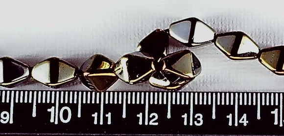 Bronze Iris glass 10.5mm x 7.5mm double cone beads  16 inch strand
