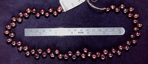 Freshwater pearl strand  Black Cherry rice 12 x 9 mm 16 inch