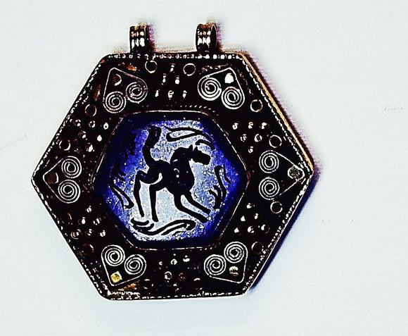Stone/Metal etched blue pendant