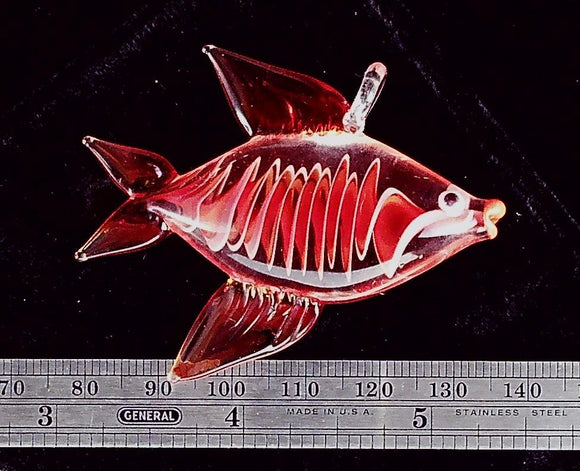 Glass focal red fish 58x43mm pendant