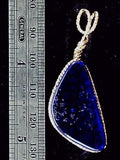 Dichroic glass deep blue/copper pendant    Sterling wrap bail