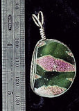 Dichroic glass hot pink green and gold focal pendant sterling wrap