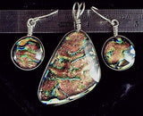 Dichroic glass multicolor pink yellow green focal pendant PLUS matching earring pair