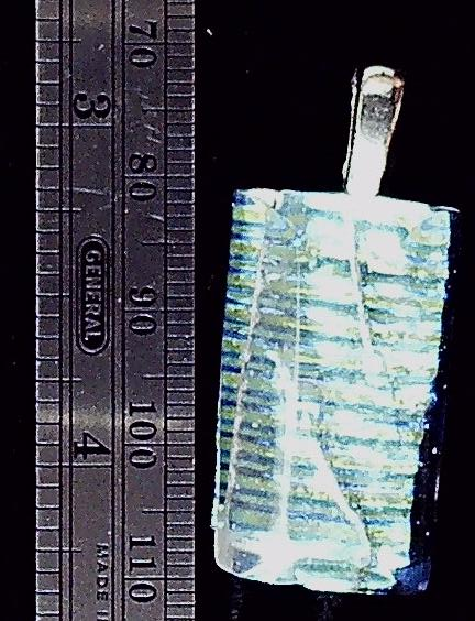 Dichroic glass sparkle green/blue stripe pendant sterling bezel.