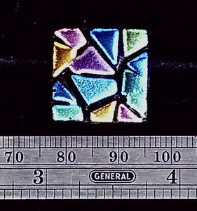 Glass bold blue/green/pink/yellow geometric square focal pendant (1 bead)