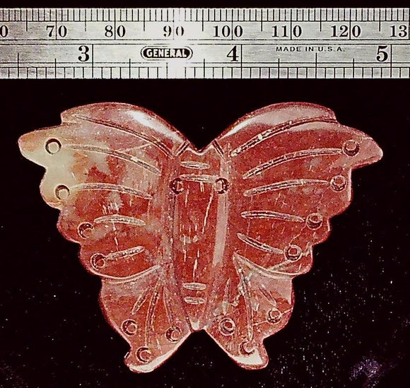 Butterfly brown stone carved focal bead (1)