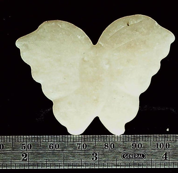 Butterfly light cream/pink/peach color stone carved focal bead