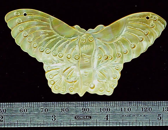 Butterfly gold lip carved mother of Pearl  focal bead (1)