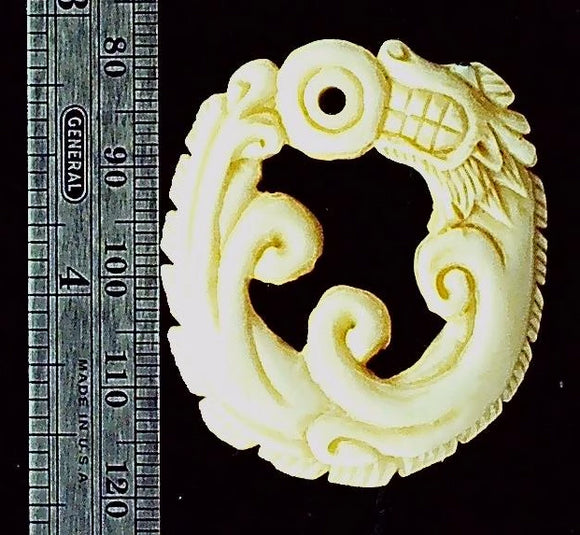 Bone carved focal bead (1)